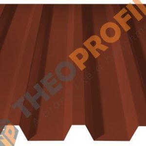 Λαμαρίνα τραπεζοειδής 5 Κορυφών νέου τύπου σε χρώμα RAL 8004 με υφή κεραμιδιού - Theoprofil.com